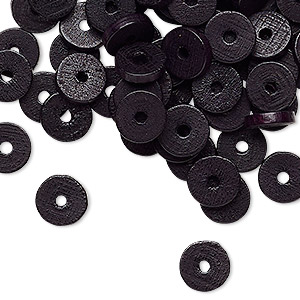 bead, wood (dyed / coated), black, 8x2mm heishi. sold per pkg of 100.