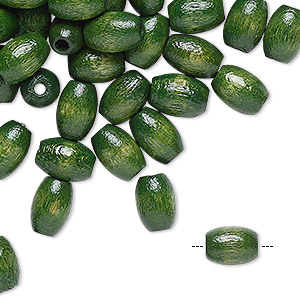 bead, wood (dyed / coated), green, 9x6mm oval. sold per pkg of 100.
