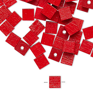 bead, wood (dyed / coated), red, 6x6mm cube. sold per pkg of 100.
