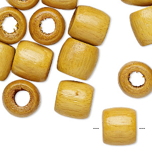 bead, wood (dyed / coated), yellow, 12x11mm barrel. sold per pkg of 24.