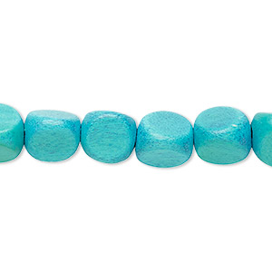 bead, wood (dyed / waxed), aqua, 10mm rounded triangle with 1.5-2.5mm hole. sold per 16-inch strand.