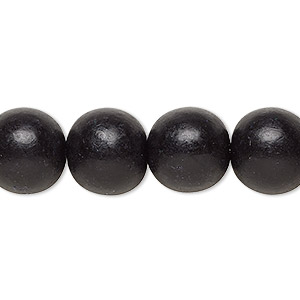 bead, wood (dyed / waxed), black, 11-12mm round with 1.5-3mm hole. sold per pkg of (2) 16-inch strands.