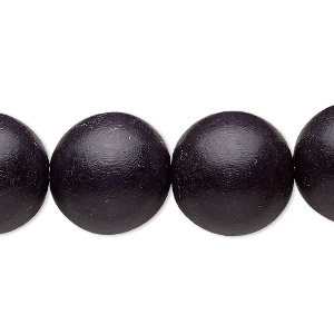 bead, wood (dyed / waxed), black, 15-16mm round with 2-2.5mm hole. sold per 16-inch strand.