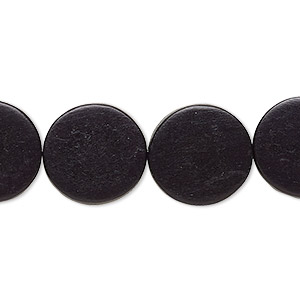 bead, wood (dyed / waxed), black, 15mm flat round. sold per 16-inch strand.
