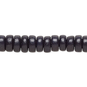 bead, wood (dyed / waxed), black, 8x4mm rondelle. sold per pkg of (2) 16-inch strands.