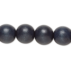 bead, wood (dyed / waxed), blue-grey, 11-12mm round with 1.5-3mm hole. sold per pkg of (2) 16-inch strands.