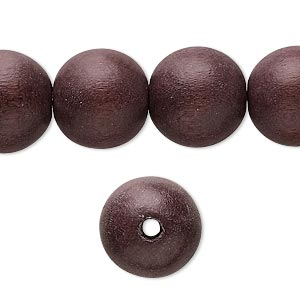 bead, wood (dyed / waxed), chocolate brown, 14-15mm round with 2-3mm hole. sold per 16-inch strand.