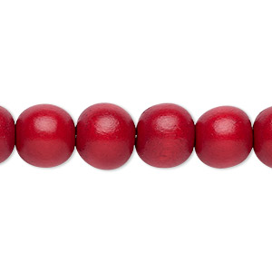 bead, wood (dyed / waxed), cranberry red, 9-10mm round with 2-2.5mm hole. sold per pkg of (2) 16-inch strands.