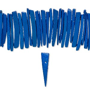 bead, wood (dyed / waxed), dark blue, 25x4mm hand-cut top-drilled stick. sold per 16-inch strand.