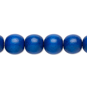 bead, wood (dyed / waxed), dark blue, 9-10mm round with 2-2.5mm hole. sold per pkg of (2) 16-inch strands.
