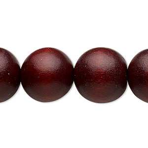 bead, wood (dyed / waxed), dark brown, 15-16mm round with 2-2.5mm hole. sold per 16-inch strand.