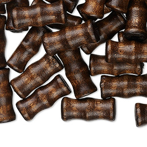 bead, wood (dyed / waxed), dark brown, 16x7mm hand-cut bamboo, 2.5-3mm hole. sold per pkg of 500.