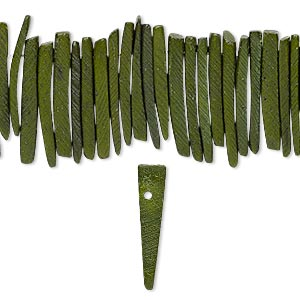 bead, wood (dyed / waxed), dark green, 25x4mm hand-cut top-drilled stick. sold per 16-inch strand.