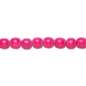 bead, wood (dyed / waxed), dark pink, 5-6mm round with 0.5-2mm hole. sold per pkg of (2) 16-inch strands.