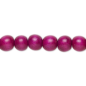 bead, wood (dyed / waxed), dark purple, 7-8mm round. sold per pkg of (2) 16-inch strands.
