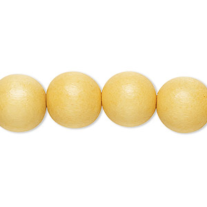 bead, wood (dyed / waxed), dark yellow, 11-12mm round with 1.5-3mm hole. sold per pkg of (2) 16-inch strands.