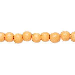bead, wood (dyed / waxed), dark yellow, 5-6mm round with 0.5-2mm hole. sold per pkg of (2) 16-inch strands.