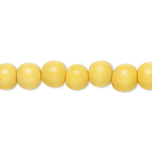 bead, wood (dyed / waxed), dark yellow, 7-8mm round. sold per pkg of (2) 16-inch strands.