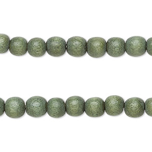 bead, wood (dyed / waxed), greige, 6mm round. sold per pkg of (2) 16-inch strands.