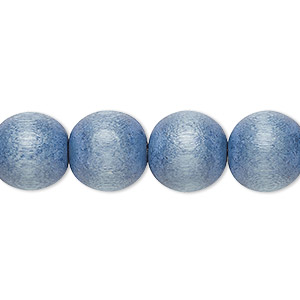 bead, wood (dyed / waxed), light blue, 11-12mm round with 1.5-3mm hole. sold per pkg of (2) 16-inch strands.