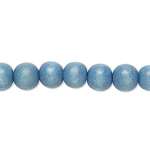 bead, wood (dyed / waxed), light blue, 7-8mm round. sold per pkg of (2) 16-inch strands.