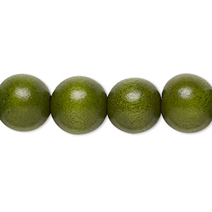 bead, wood (dyed / waxed), light forest green, 11-12mm round with 1.5-3mm hole. sold per pkg of (2) 16-inch strands.