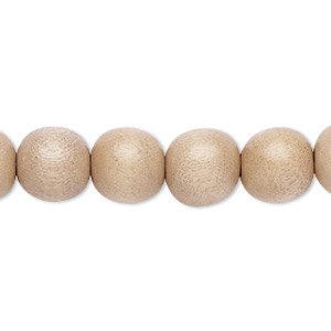 bead, wood (dyed / waxed), light mauve, 9-10mm round with 2-2.5mm hole. sold per pkg of (2) 16-inch strands.