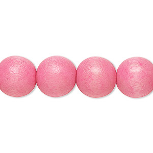 bead, wood (dyed / waxed), light pink, 11-12mm round with 1.5-3mm hole. sold per pkg of (2) 16-inch strands.