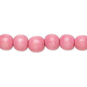 bead, wood (dyed / waxed), light pink, 7-8mm round. sold per pkg of (2) 16-inch strands.