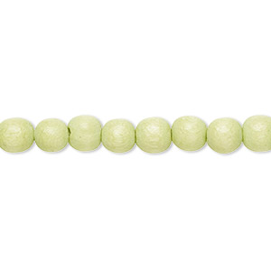 bead, wood (dyed / waxed), lime green, 5-6mm round with 0.5-2mm hole. sold per pkg of (2) 16-inch strands.