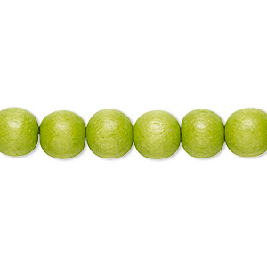 bead, wood (dyed / waxed), lime green, 7-8mm round. sold per pkg of (2) 16-inch strands.