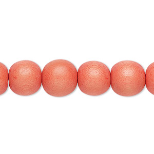 bead, wood (dyed / waxed), orange, 9-10mm round with 2-2.5mm hole. sold per pkg of (2) 16-inch strands.