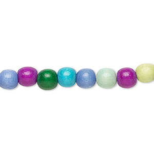 bead, wood (dyed / waxed), rainbow, 5-6mm round with 0.5-2mm hole. sold per pkg of (2) 16-inch strands.