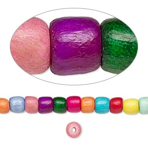bead, wood (dyed / waxed), rainbow, 5x4mm barrel. sold per pkg of (2) 16-inch strands.