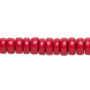 bead, wood (dyed / waxed), red, 8x4mm rondelle. sold per pkg of (2) 16-inch strands.