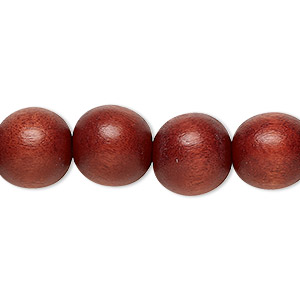 bead, wood (dyed / waxed), rust brown, 11-12mm round with 1.5-3mm hole. sold per pkg of (2) 16-inch strands.