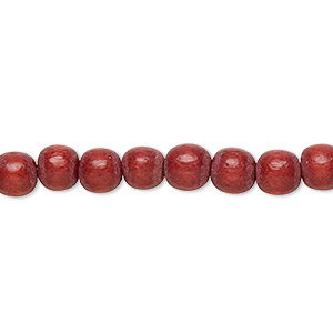 bead, wood (dyed / waxed), rust brown, 5-6mm round with 0.5-2mm hole. sold per pkg of (2) 16-inch strands.