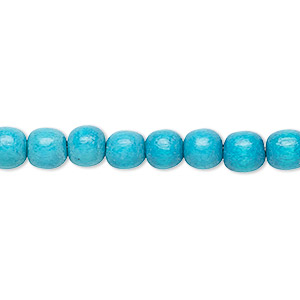 bead, wood (dyed / waxed), turquoise blue, 5-6mm round with 0.5-2mm hole. sold per pkg of (2) 16-inch strands.
