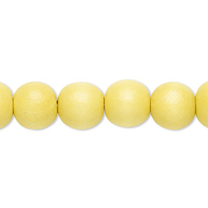 bead, wood (dyed / waxed), yellow, 9-10mm round with 2-2.5mm hole. sold per pkg of (2) 16-inch strands.