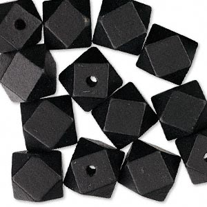 bead, wood (dyed), black, 20x20mm hand-cut faceted cube. sold per pkg of 25.