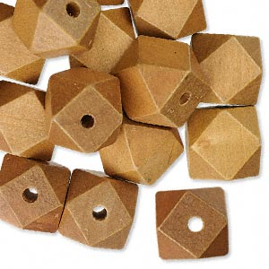bead, wood (dyed), brown, 20x20mm hand-cut faceted cube. sold per pkg of 25.