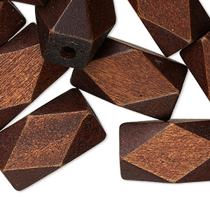 bead, wood (dyed), dark brown, 22x13mm hand-cut faceted tube, 2.4mm hole. sold per pkg of 25.