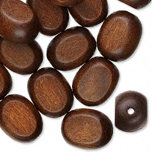 bead, wood (dyed), dark brown, 25x20mm hand-cut flat oval. sold per pkg of 25.