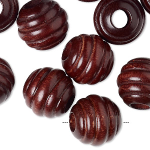 bead, wood (natural), 15mm carved round with 6mm hole. sold per pkg of 24.