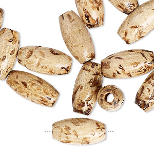 bead, wood (natural), 16x8mm oval. sold per pkg of 24.