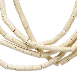 bead, wood (natural), 5x3mm round tube. sold per 42-inch strand. minimum 3 per order.