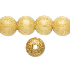 bead, wood (waxed), 11-12mm hand-cut round. sold per 16-inch strand.