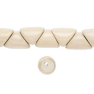 bead, wood (waxed), 12x9x3mm hand-cut rounded triangle. sold per 16-inch strand.