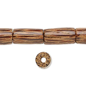 bead, wood (waxed), 15x8mm hand-cut round tube. sold per 16-inch strand.
