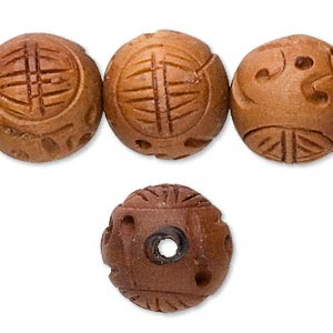 bead, wood (waxed), 16mm carved round with good luck symbol. sold per 16-inch strand.